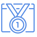 Small icon showing a web browser with a 1st place ribbon in it.