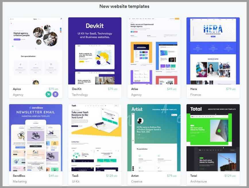 webflow template themes