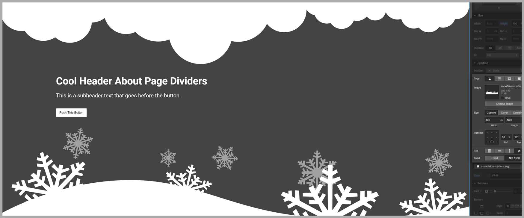 page divider in webflow