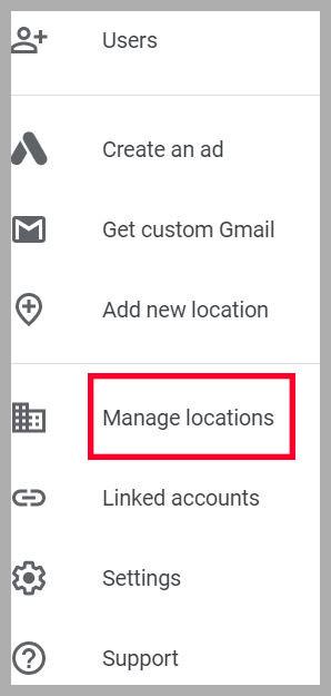google my business sidebar