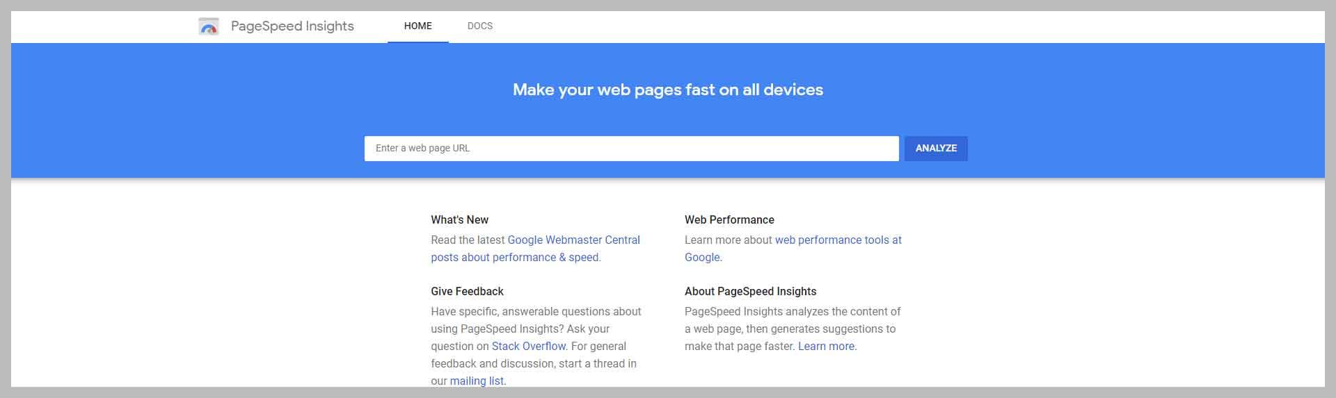 Google Page Speed Insights Screenshot