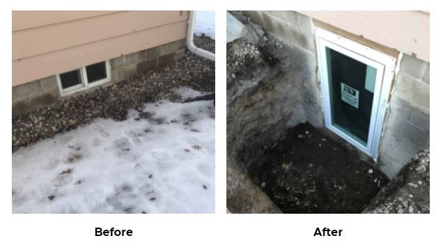 Egress Window Before and After Pictures