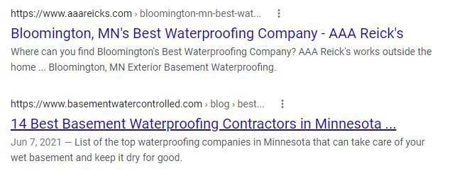 Waterproofing Website Title Tags