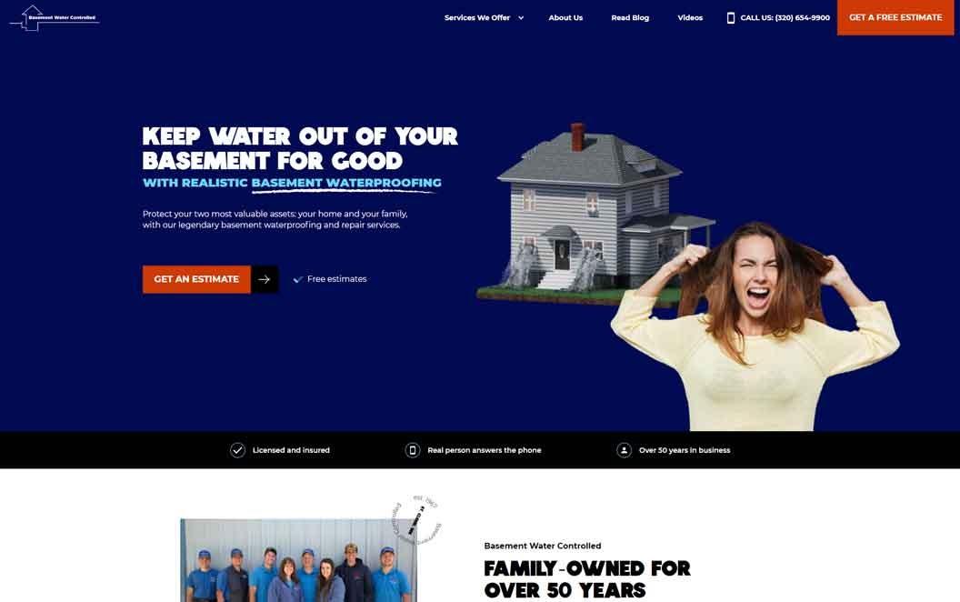 Basement Waterproofing Website Hero Image