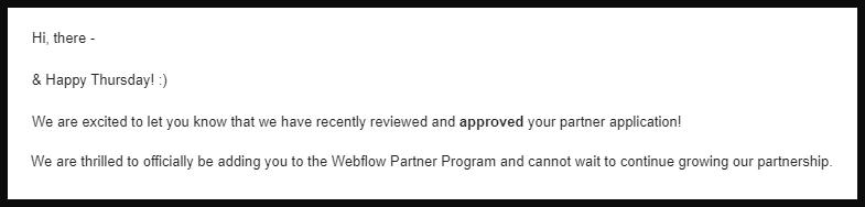 Webflow acceptance letter into Partner program