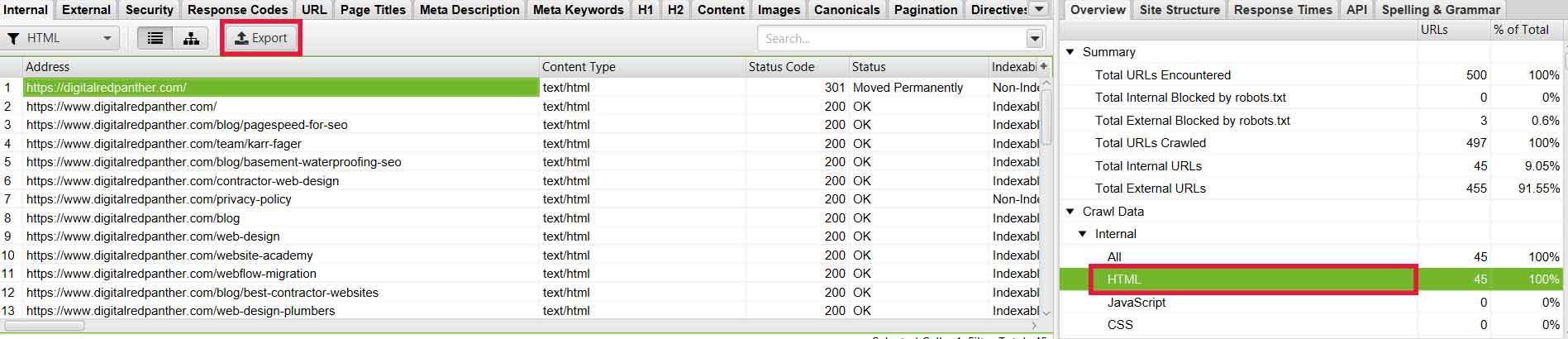 Export URLs in Screaming Frog