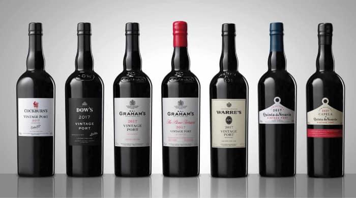 sweet wine: Port wine bottles