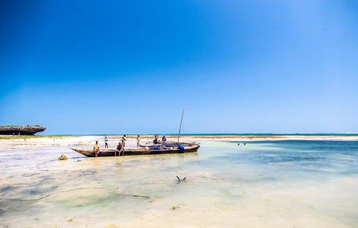 Yrende liv på stranden ved Mayungu når fiskebåtene ankommer fra Tanzania.