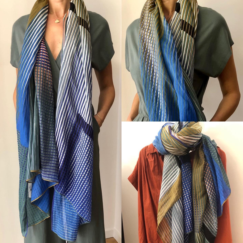 Belles matières (coton et soie), dimensions parfaites, imprimés et couleurs sublimes !!! en ligne 🤗 #matieresnaturelles #coton #soie #imprimé @mapoesie_paris #bleu #ocre #terre #sienne #kaki #olivehttps://www.instagram.com/p/CM9hfBZlAj8/