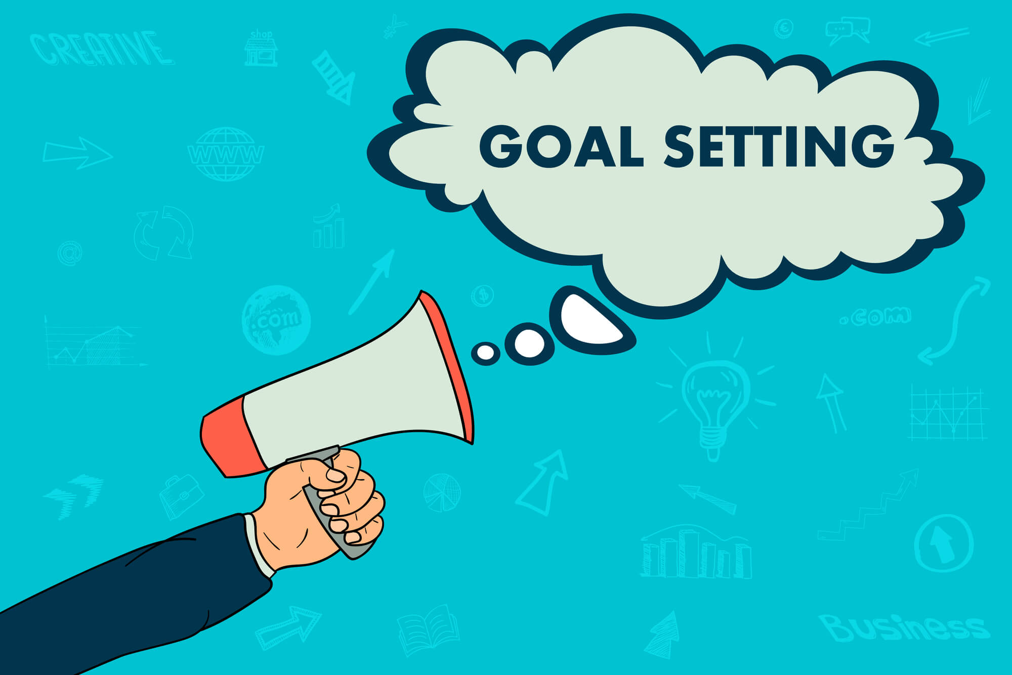 man-holding-megaphone-with-goal-setting-on-thought-cloud