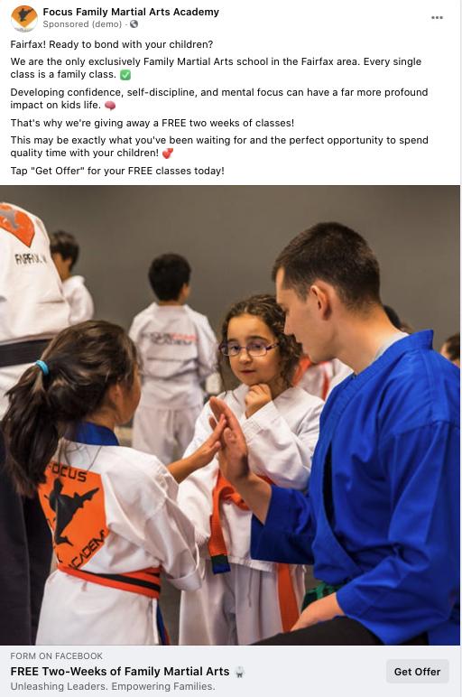 digital resource martial arts studio facebook advertising