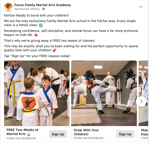 focus family martial arts digital resource carousel facebook ad