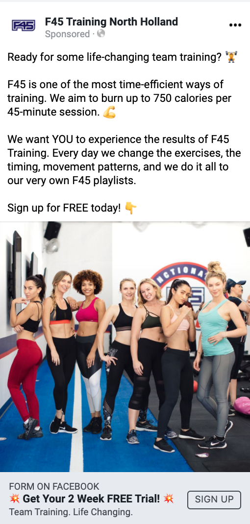 f45 north holland facebook ad digital resource female audience
