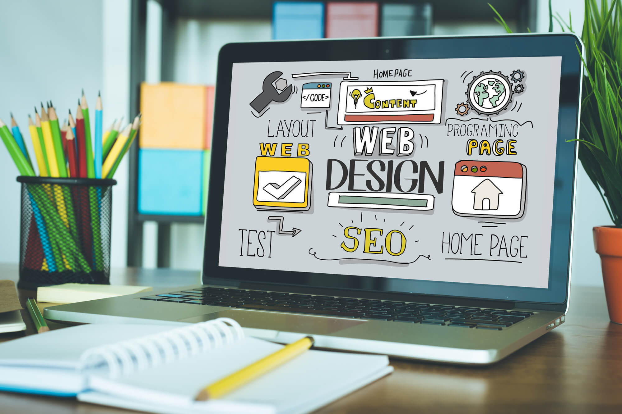 laptop showing the elements of web design