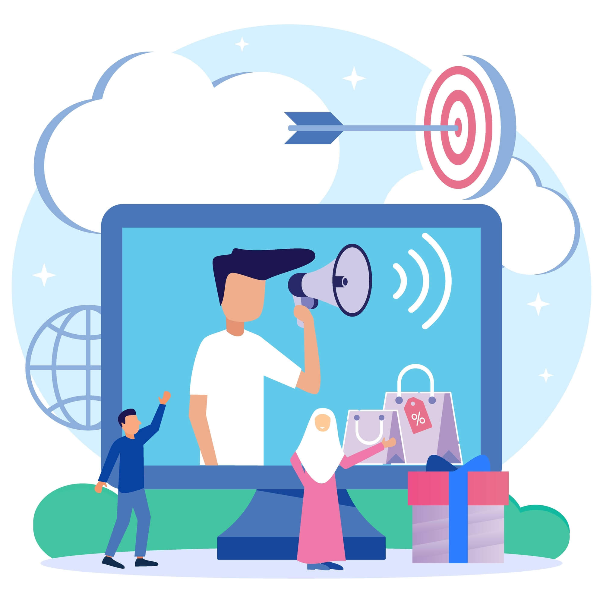 a vector of getting more customers through retargeting