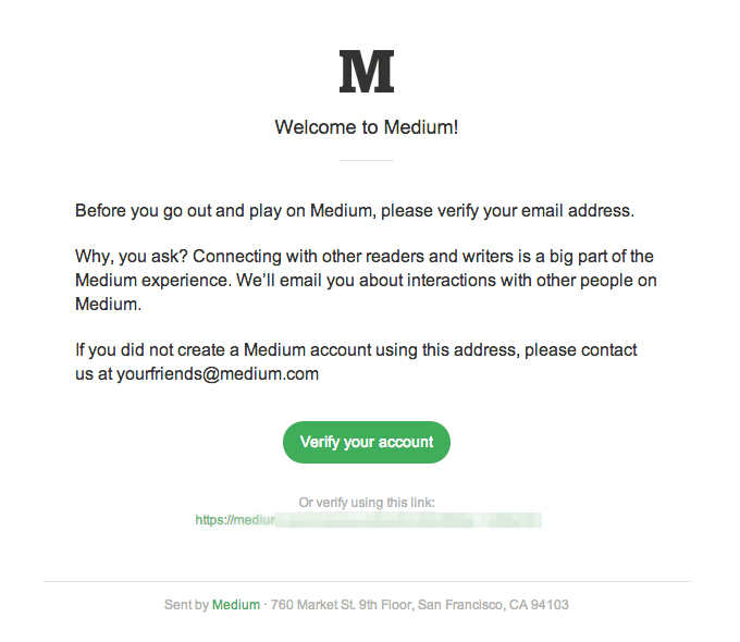 medium email confirmation notification