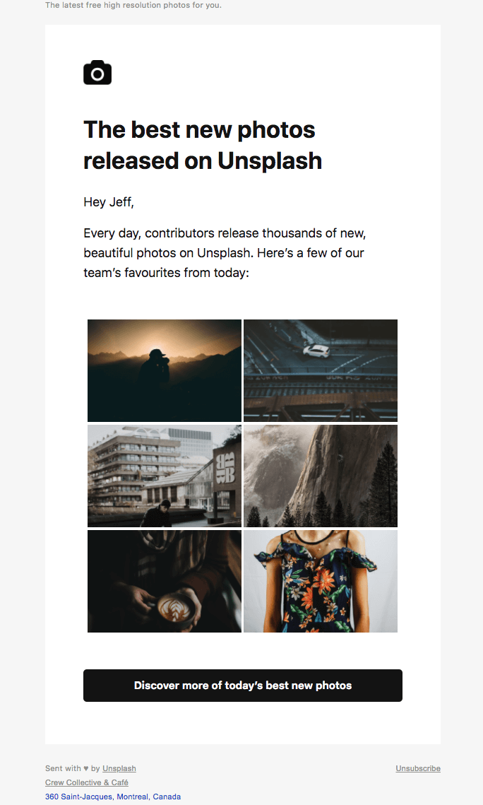 newsletter email from Unsplash