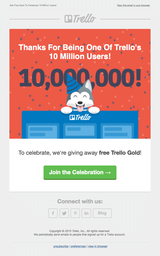 thank you email from Trello