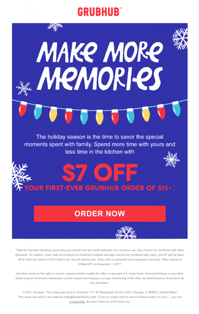 christmas email from Grubhub