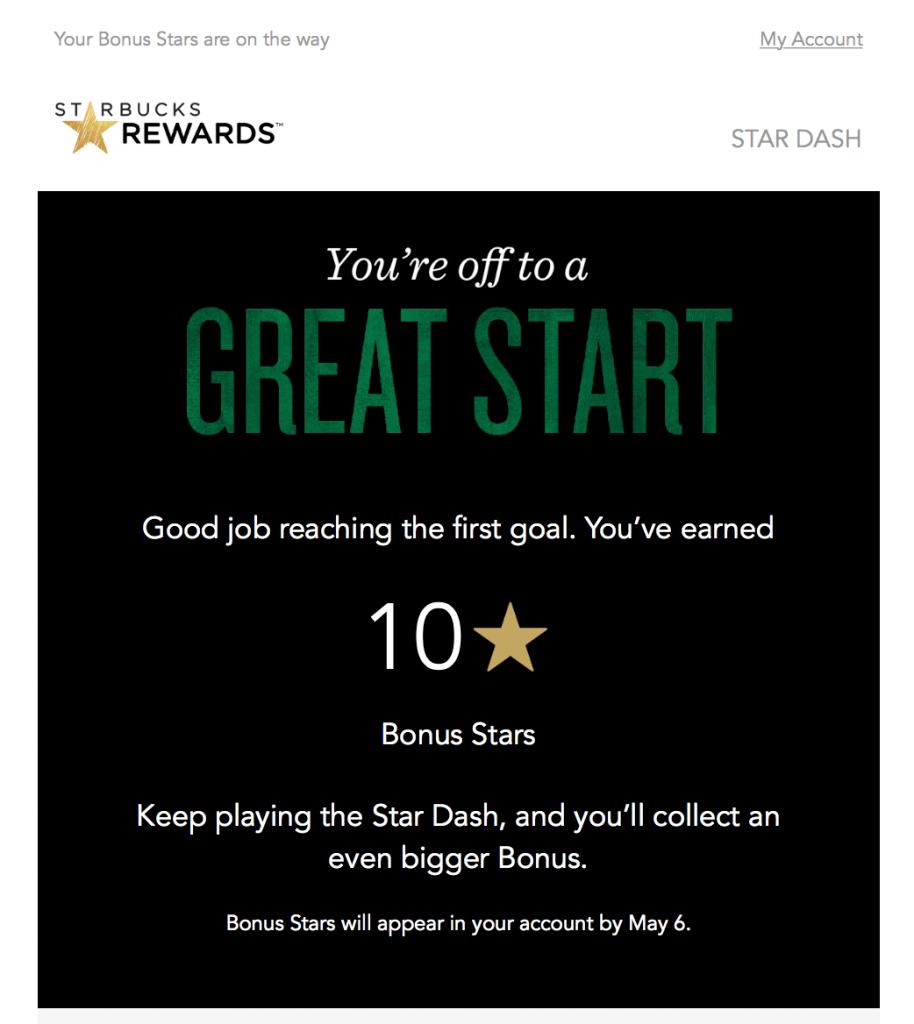 milestone mssage email from Starbucks
