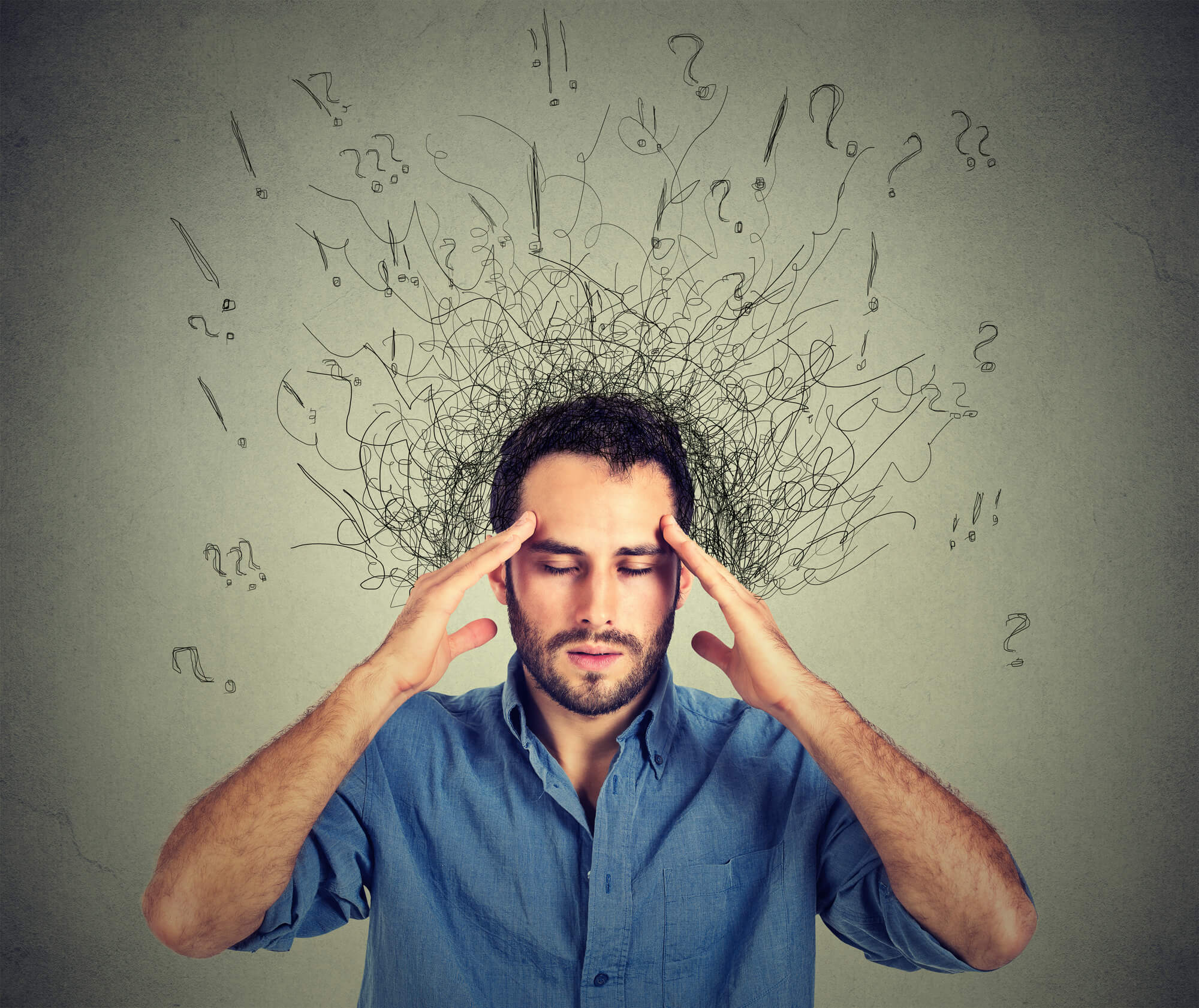 stressed man trying to think hard