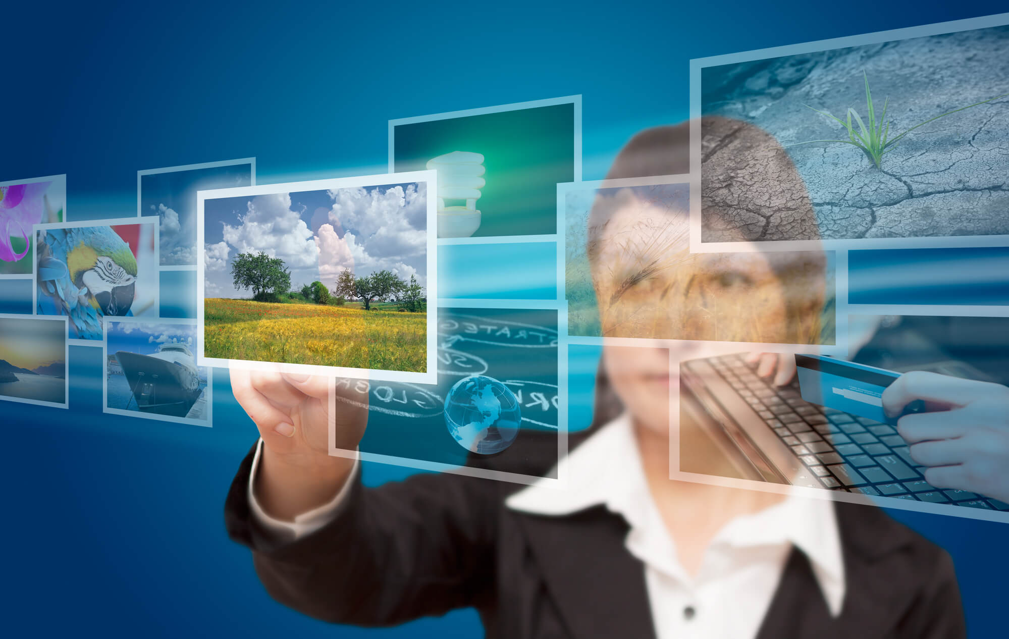 woman selecting pictures on the screen