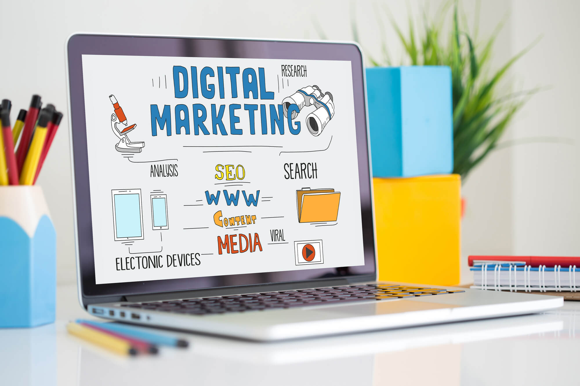 laptop with digital marketing concept