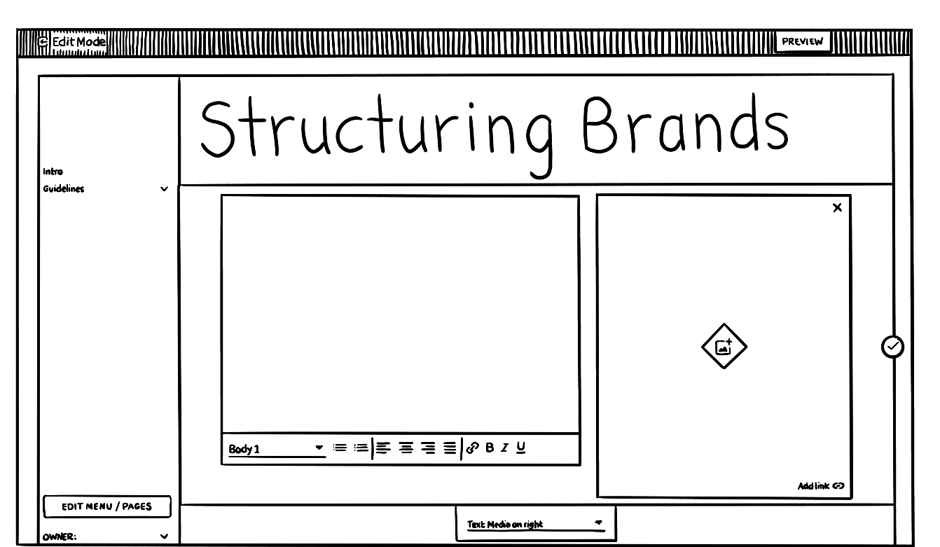 line drawn picture of a sho.ai brand system being edited