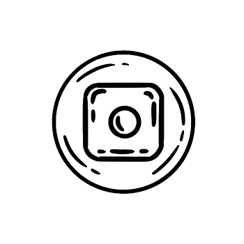 line drawn instagram logo in icon bubble