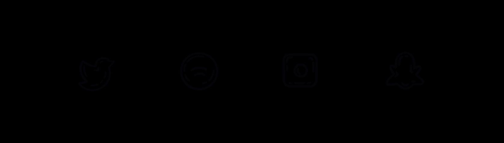 line drawn social media icon bubbles