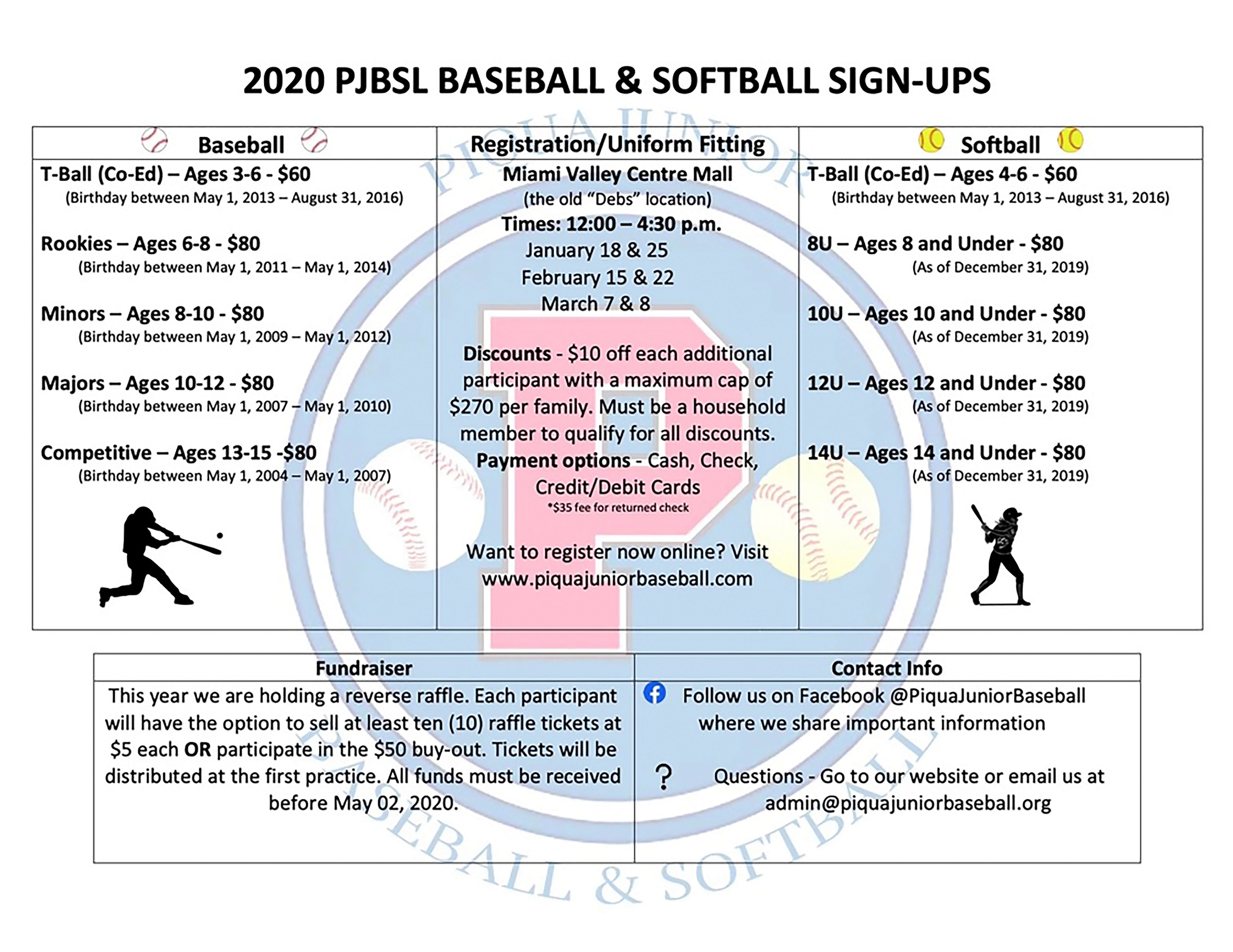 2020 PJBSL Baseball and Softball sign up calendar
