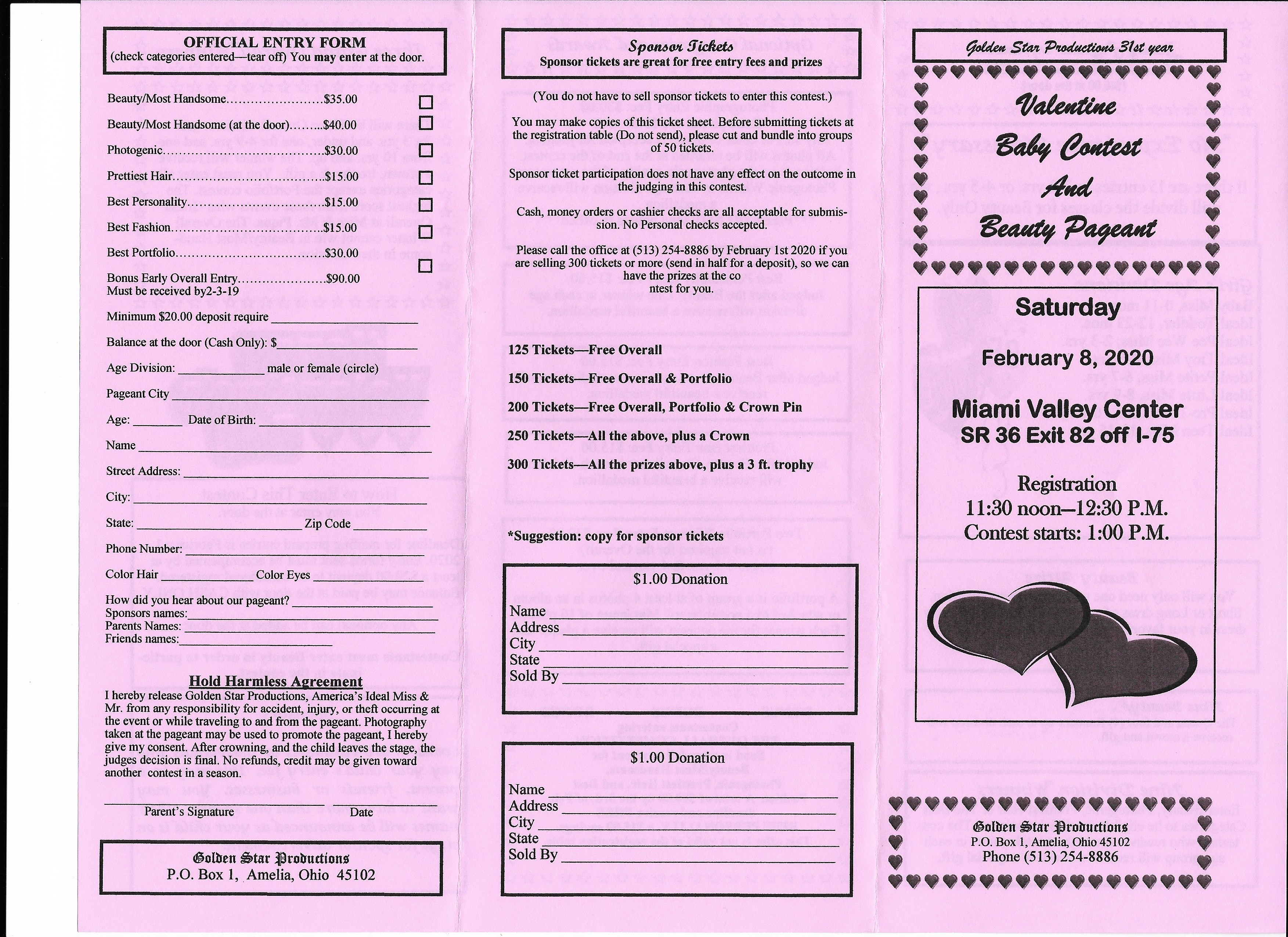 Valentine Baby Contest and Pageant registration form