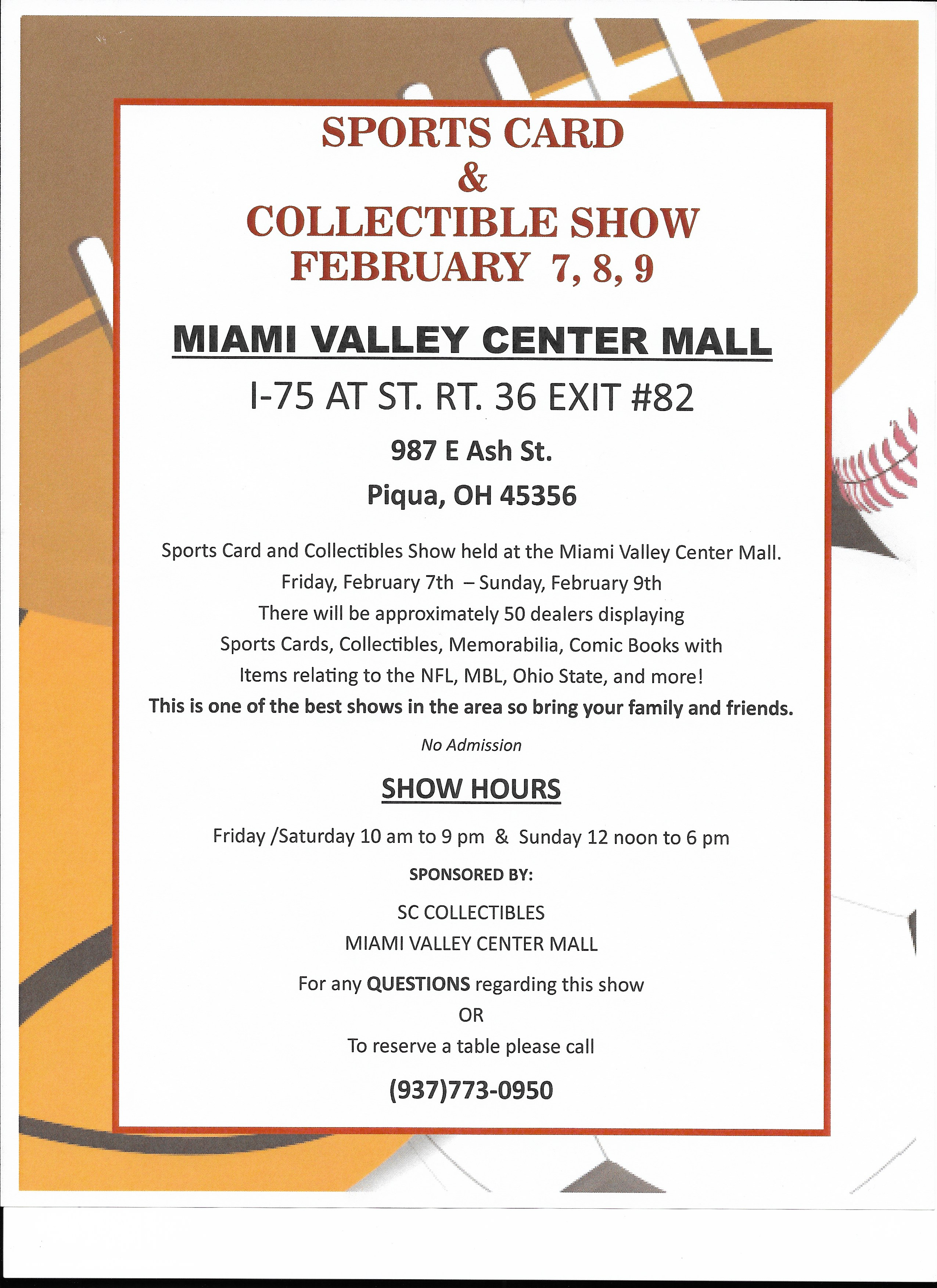 sports card and collectibles show information