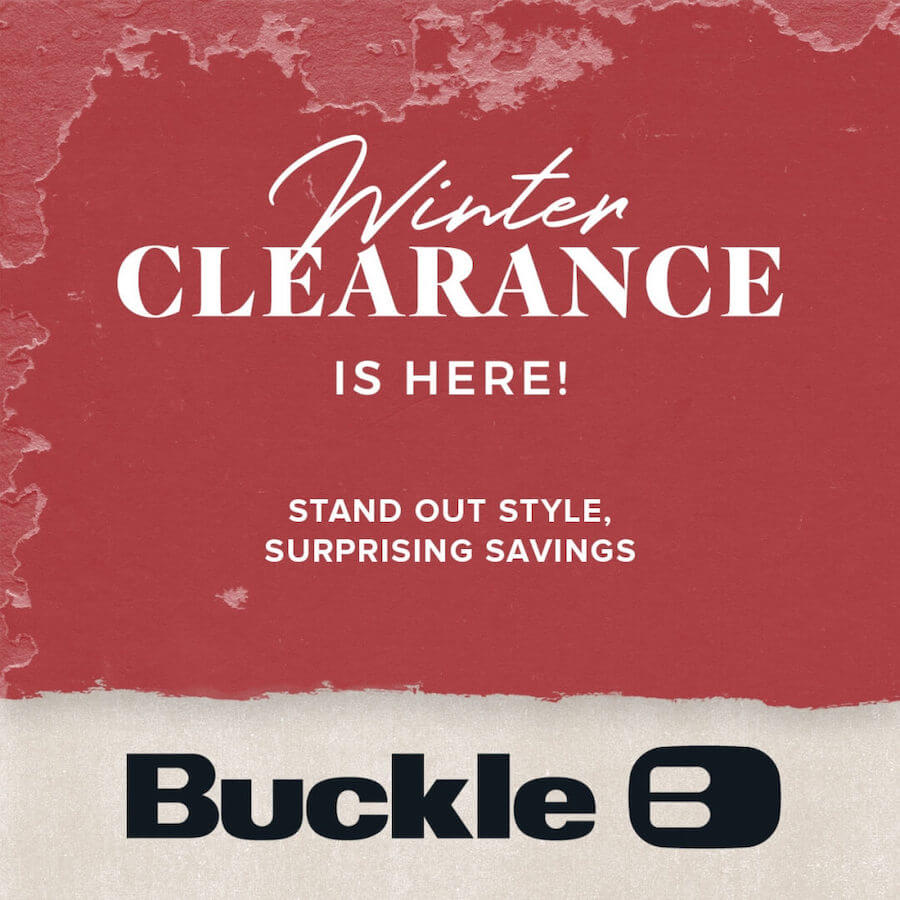 "Red poster that says ""Winter Clearance Is Here"""
