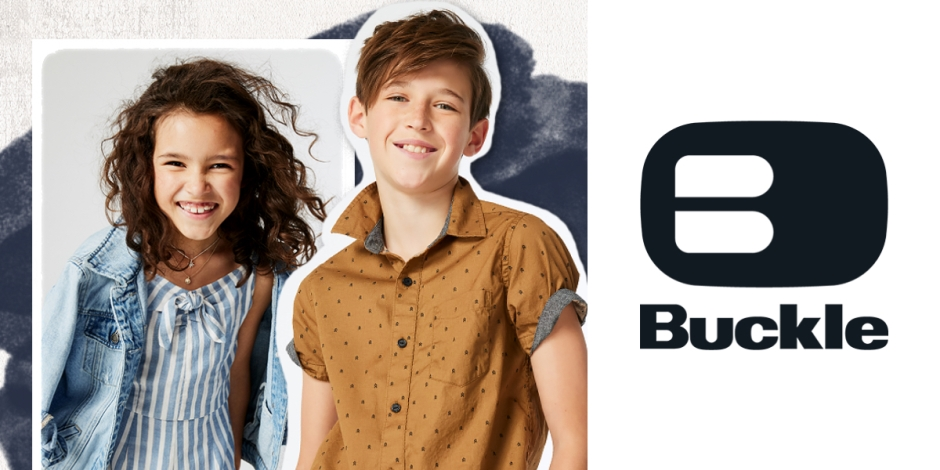 male and female child wearing buckle youth clothing