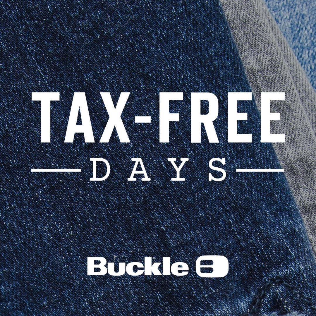 tax free text on denim background with buckle logo