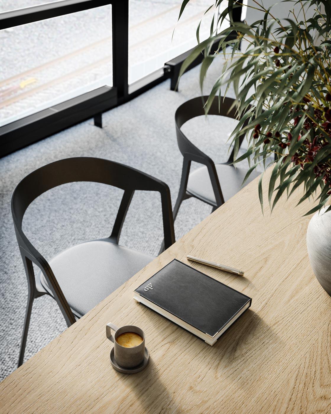 Romslige kontorplasser med gode lysforhold gjennom hele dagen.