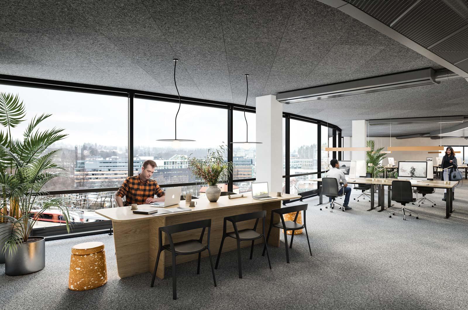 Åpne kontorlandskap med nydelig utsikt, vi tilpasser lokalene etter deres behov.