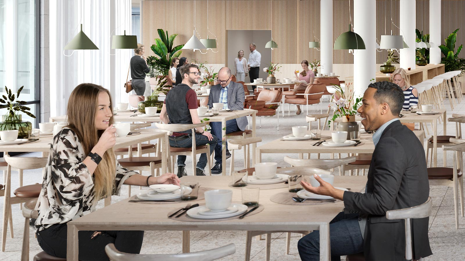 Personalrestauranten har plass til ansatte fra hele bygget.