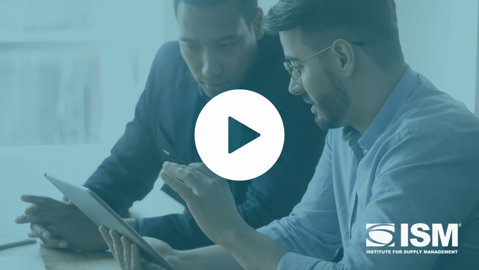 Video thumbnail - two men look at a mobile device together with blue overlay; ISM logo on bottom right