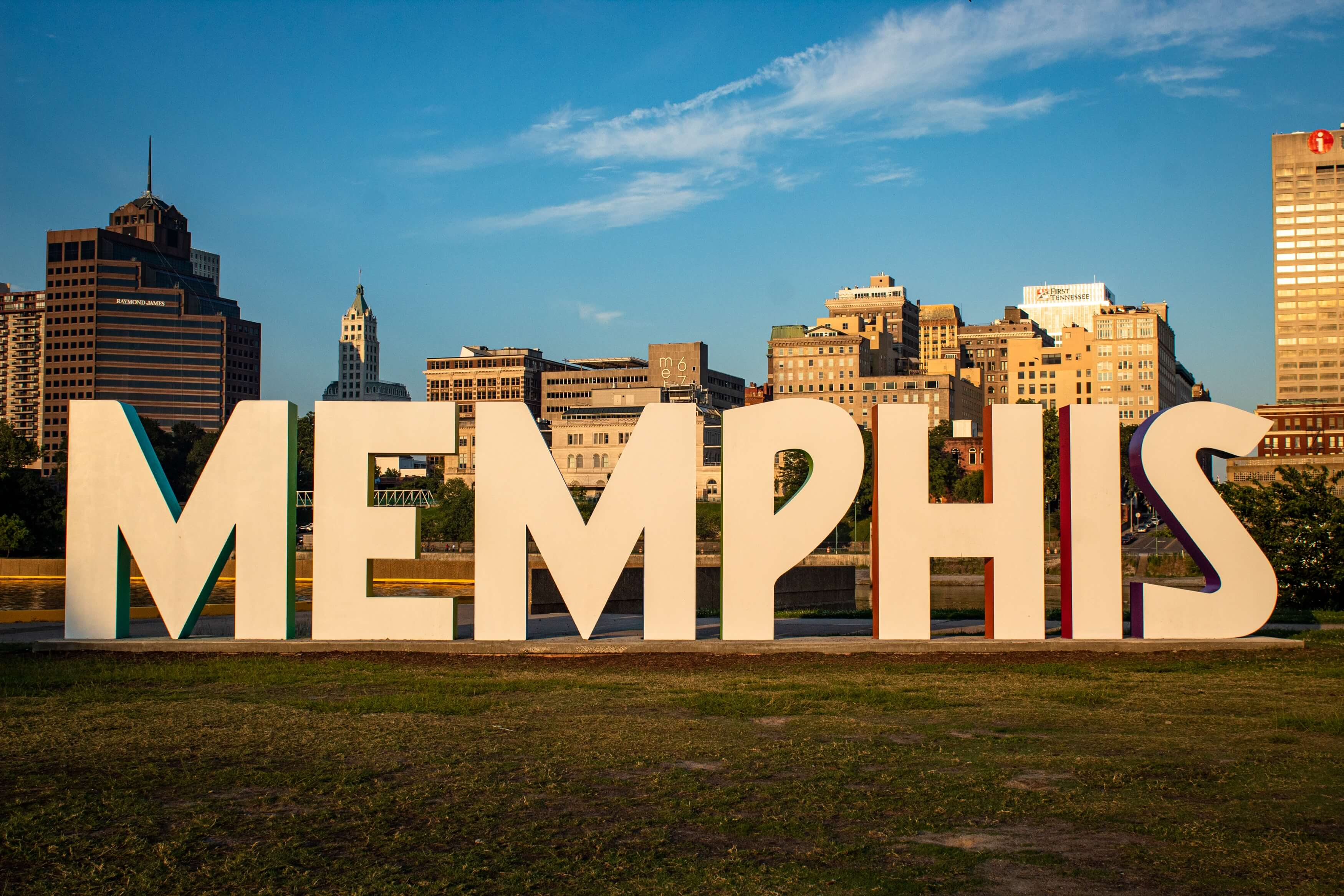 A medium shot of a sign reading Memphis TN