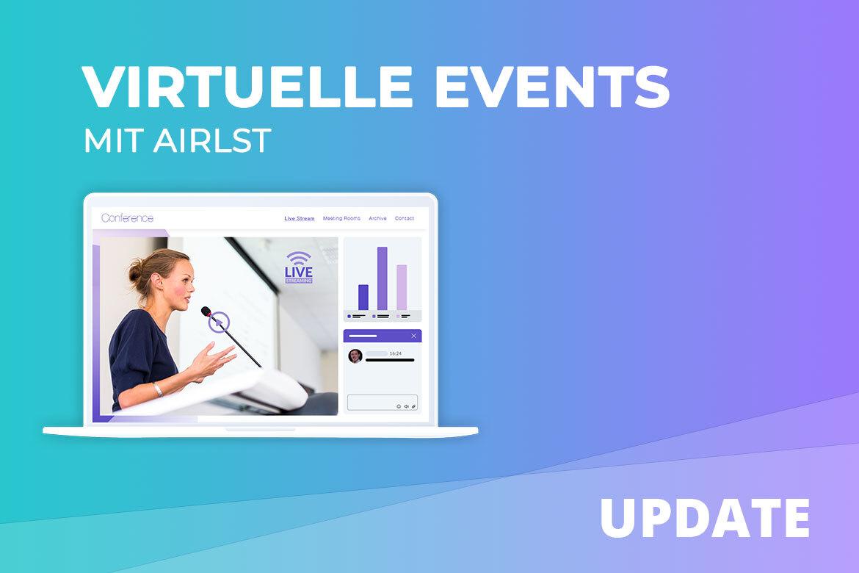 Virtuelle Events mit AirLSt planen. Screen eines virtuellen Event-Portals mit Live-Stream-Area, Event-Statistik und Chatfenster.