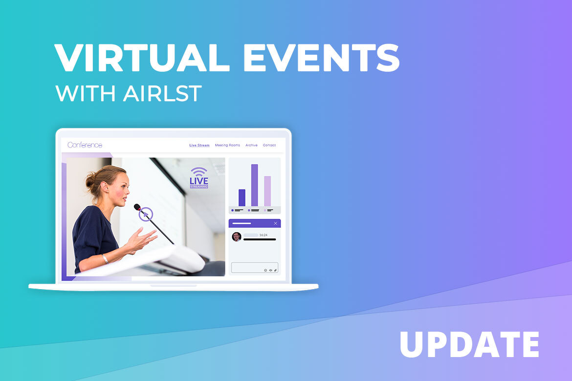 Planning virtual events with AirLST. Screen with Live Stream Picture, Chat Window and event statistic.