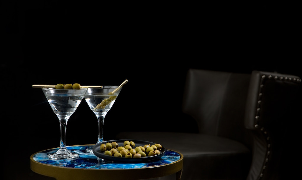 Two gin martinis with olives