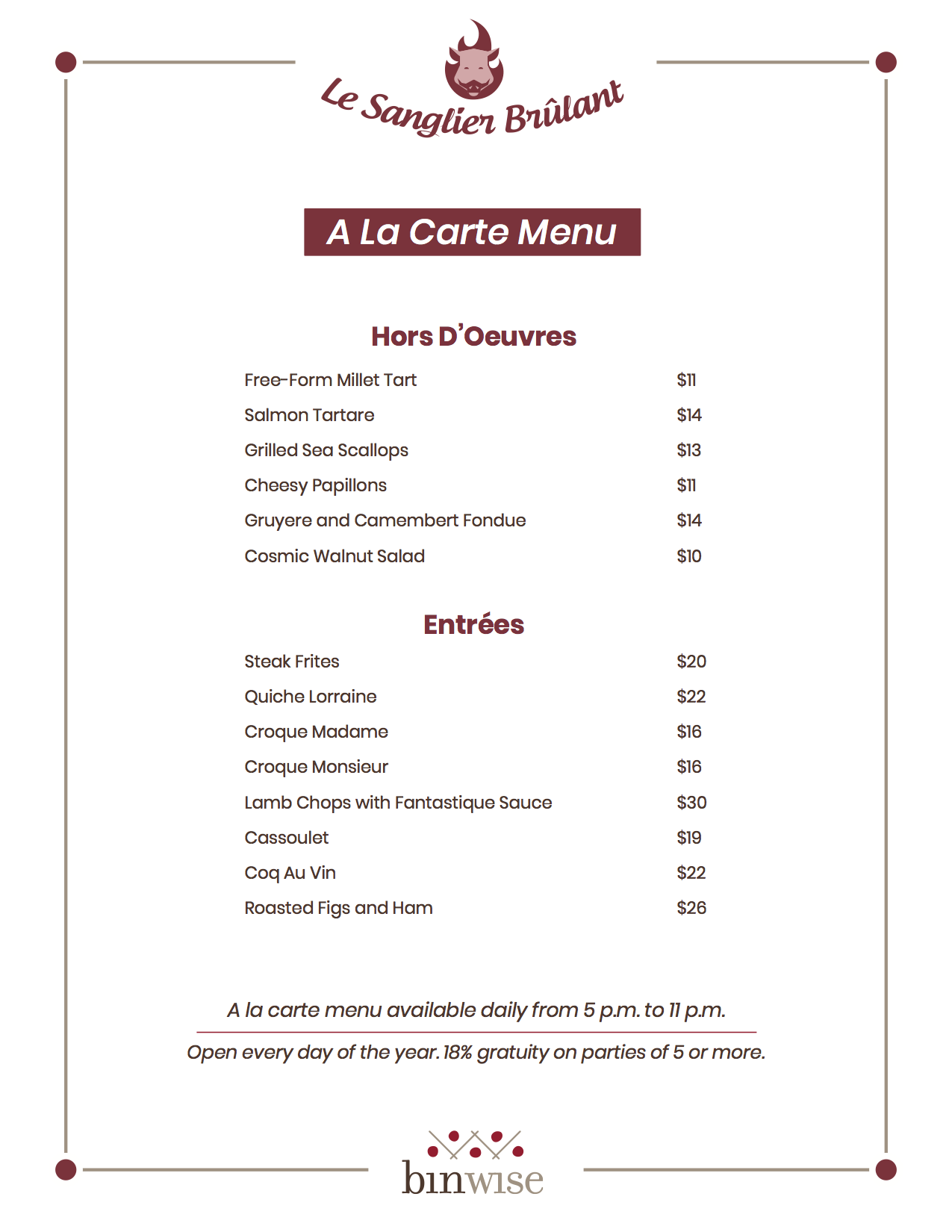 an a la carte menu sample