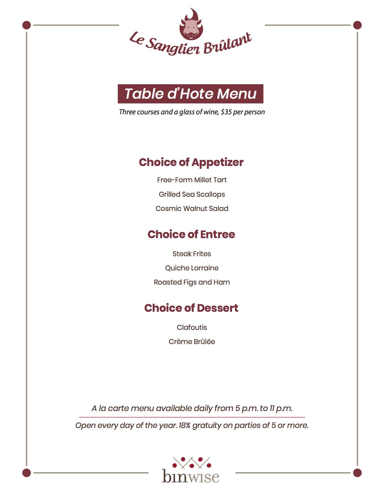 table d'hote sample menu