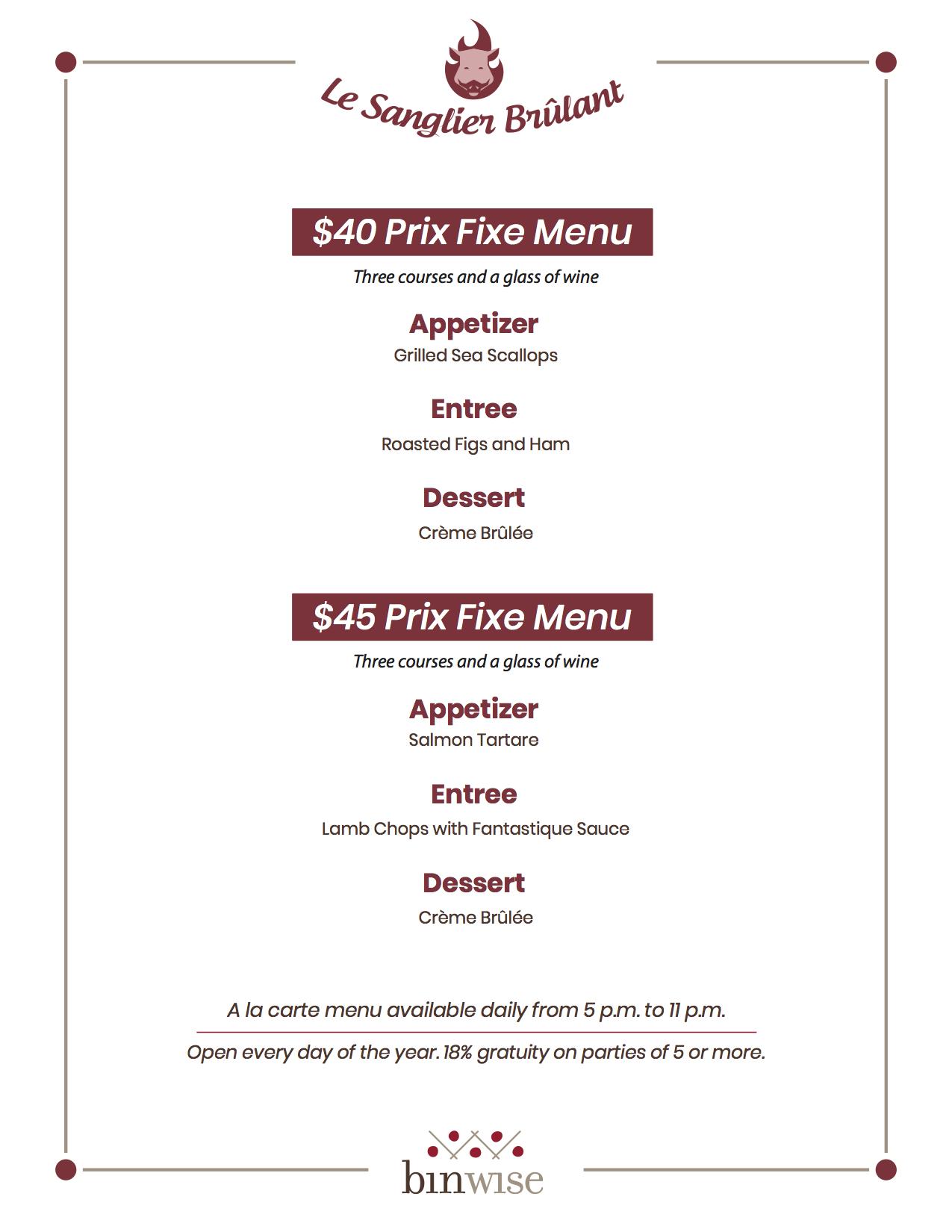 prix fixe menu example