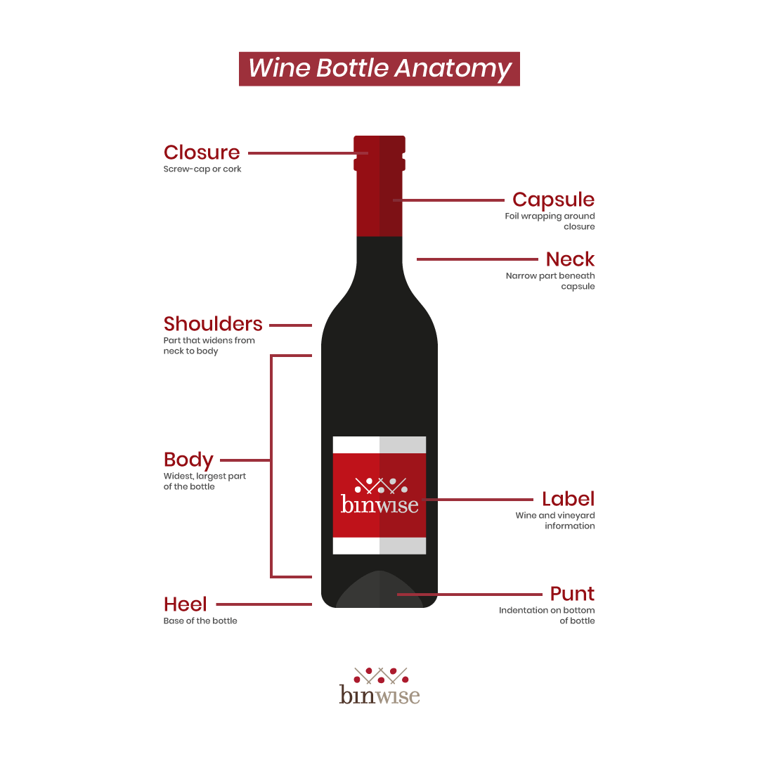 the parts of a wine bottle