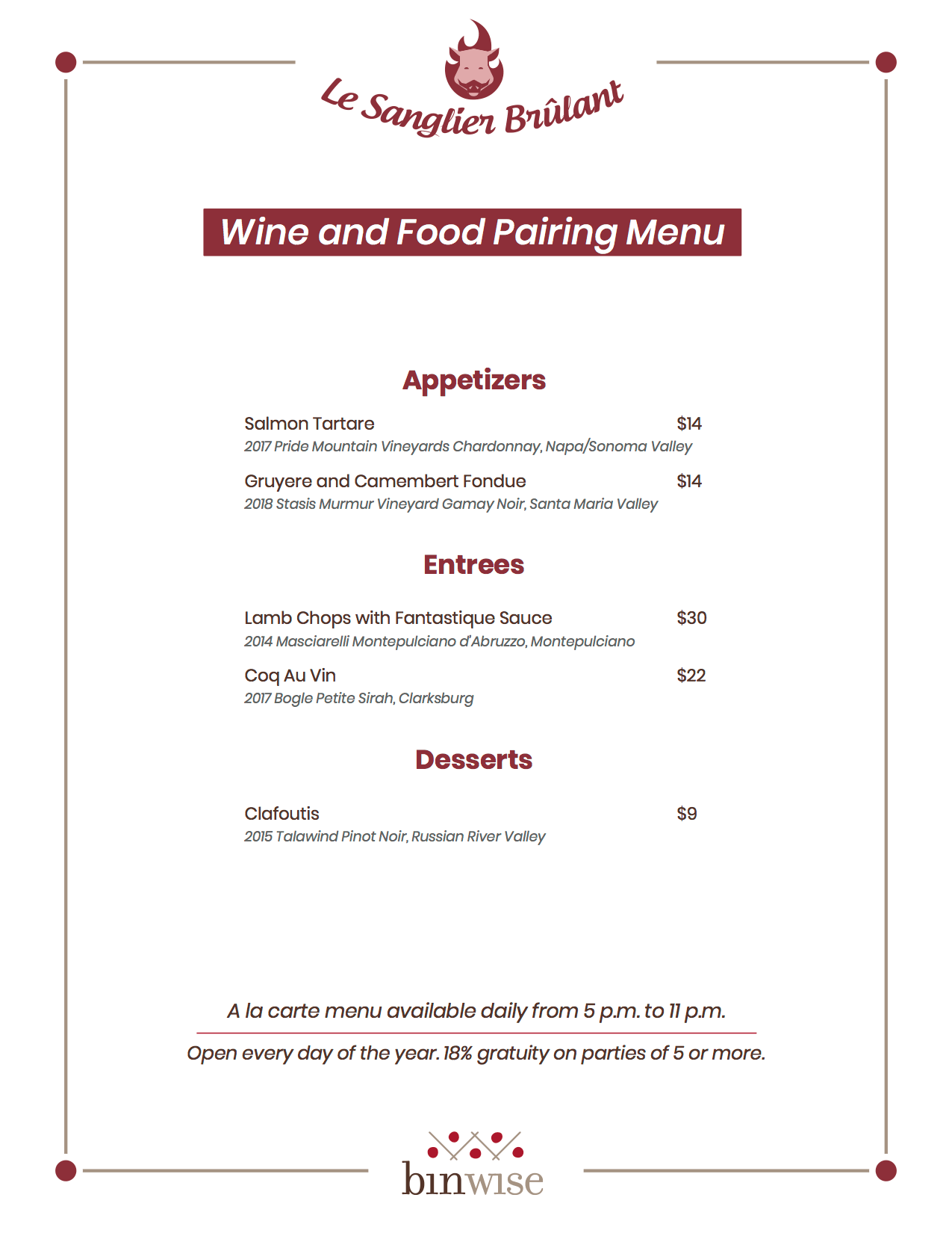 multi-course food and wine pairing menu example