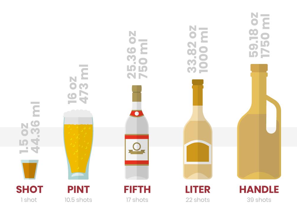 liquor bottle sizes graphic